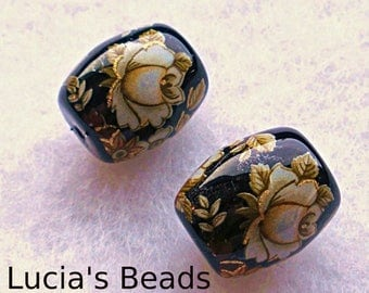 Gorgeous Pair Japanese Tensha Beads Antique White Rose on Black 13 x 15 MM