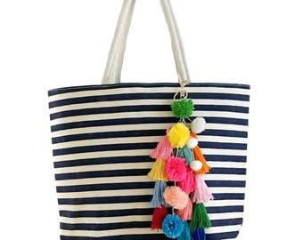 Colorful Striped Pom Pom Tassel Tote Beach Bag