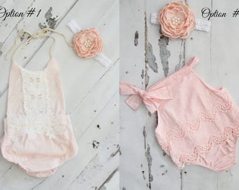 Boho Chic Blush Pink Lace Rompers & Headbands.  Newborn Baby Girl Coming Home Outfit, 1st Birthday Outfit, Summer Set, Mommy Me, 4th of July