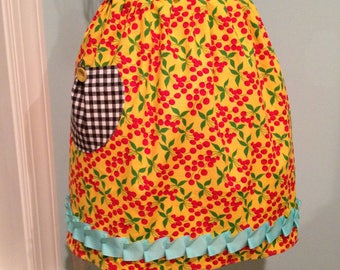 Half Apron, Retro Style, Bright Yellow with Cherries