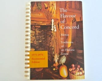 Vintage cookbook, New England, Concord Massachusetts 1976, wedding reception food, Christmas dinners, July 4th cookout menus, 1 owner