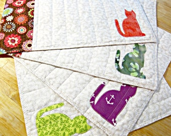 Quilted Placemats, Cat Placemats, Cat Home Decor, Fabric Placemats, Applique Placemats, Pet Decor, Fall Placemats, Cat Lover Gift, Pet Decor