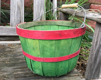 Split Wood Basket Bushel Harvest Vintage Farmhouse Green Red