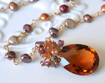 Autumn Necklace, Burnt Orange Cognac Quartz, Freshwater Pearl, Gold Jewelry, Tundra Sapphire and Garnet Gemstone, Fall Bride, Free Shipping