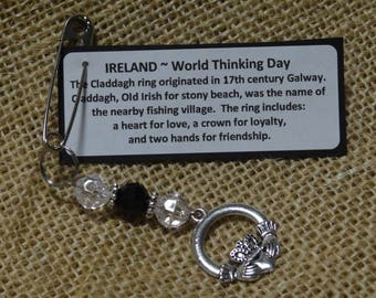 Set of Ten (10) IRELAND Claddagh Ring World Thinking Day Girl Scout Girl Guide DIY SWAP or Craft Kits