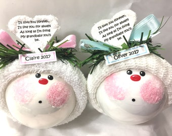 GRANDdaughter GRANDson Christmas Ornament Choice I'LL love You Forever...Grandbaby Painted Personalized Townsend Custom Gifts- BR
