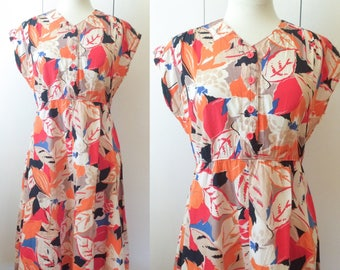 70s swing dress, neon floral bold print, S M, Japanese vintage