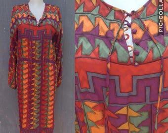 Vintage Silk Print Dress    Size 6  Southwest Aztec Graphic Print  1980s Dress   80s Vintage Dress size small to medium