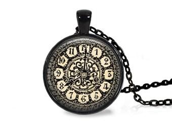 "25mm Antique Clock w/ Filigree Cabochon Black 18"" Necklace"