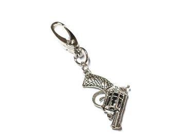FLASH SALE Silver Revolver Gun Purse Swivel Keychain Key Fob