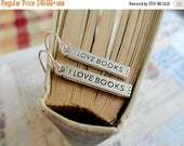 40% OFF SALE I Love Books bar charm earrings, book lover jewelry, literary enthusiast jewelry
