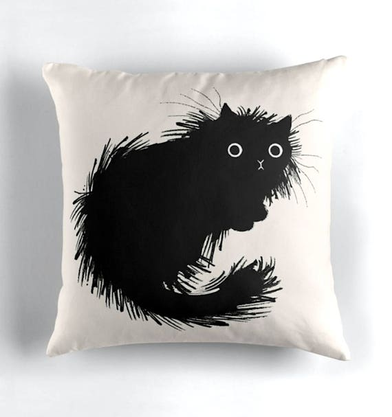 "Moggy - Black and White - Throw Pillow / Cushion Cover (16"" x 16"") by Oliver Lake / iOTA iLLUSTRATION"