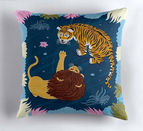 "Rumble In The Jungle - Lion and Tiger - Throw Pillow / Cushion Cover (16"" x 16"") by Oliver Lake / iOTA iLLUSTRATION"