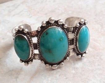 Gem Silica Bracelet Chrysocolla Sterling Silver Cuff Vintage 031116SB