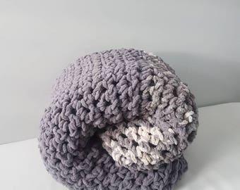 Grey chunky sweater crochet blanket afghan
