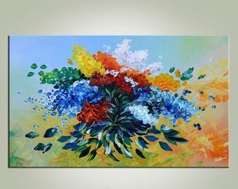 70% OFF ORIGINAL Oil Painting Impasto painting Flowers painting oil on canvas painting modern painting  Palette Knife Bright Textured ART Ma