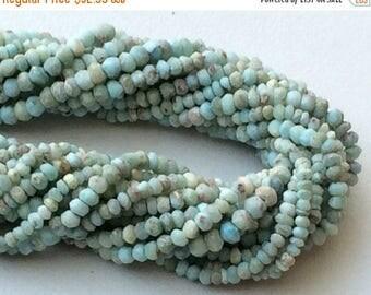 ON SALE 55% Larimar Beads, Natural Larimar Faceted Rondelle, Original Larimar, Tiny Beads, Larimar Necklace, 3.5-4mm, 6.5 Inch - GSA47