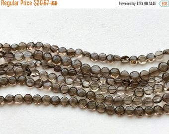 ON SALE 55% Smoky Quartz Plain Dish Coins, Smoky Quartz Coin Beads, Smoky Quartz Necklace, 6-7mm, 13 Inch - RAMA195