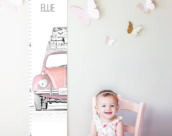 Custom/ Personalized VW Beetle/Bug canvas growth chart in pink - perfect for girl nursery decor or baby shower gift