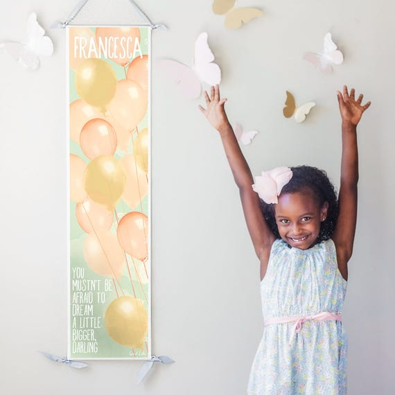 "Personalized ""Dream A Little Bigger, Darling"" canvas growth chart with pastel balloons"