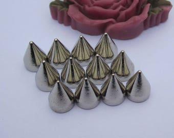 50 metal studs, Silver Spike Stud, silver Metal bullet Spikes, Bullet Studs, Screwback spkes, cone studs, jewelry stud decoration 7x9mm