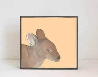 kangaroo nursery art, animal print, nursery decor, boho nursery, orange nursery decor, art block, zoo animal print, redtilestudio