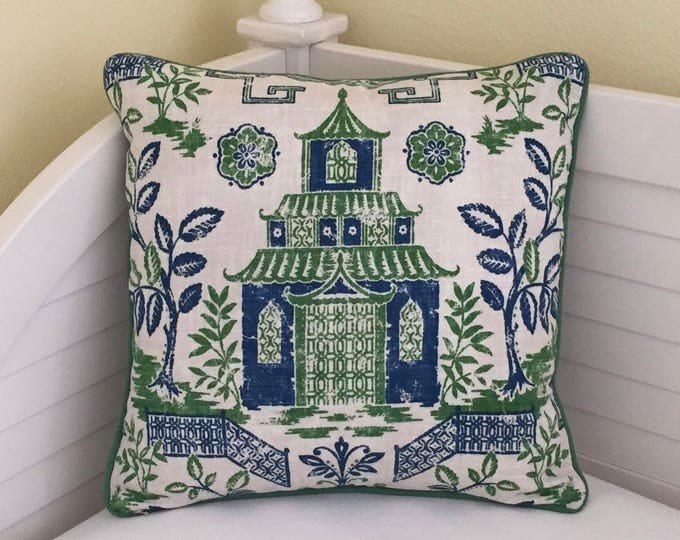 Teahouse Toile Designer Pillow Cover with Piping - Square, Euro and Shams