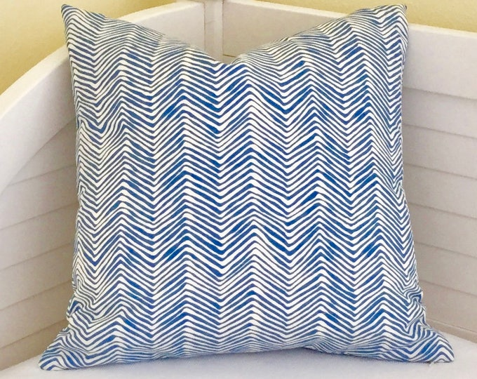 Custom Order for Lindsey - Quadrille China Seas PETITE Zig Zag in Pacific (Denim) Blue Designer Lumbar Pillow Cover