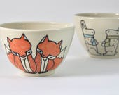 Fox Cereal Bowl / Foxes Soup Bowl / Unique Pottery / Pottery Bowls / Handmade Ceramics / Cute Bowls / Fox Pottery / Holiday Gifts