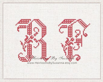Tulip Machine Cross Stitch Embroidery Initials - Large Floral Machine Cross Stitch Monogram Set - Antique  Monogram - Vintage - 4x4 - PES