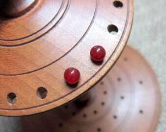 Carnelian Sterling Silver 4mm Ball Stud Earrings - studs balls posts August birthstone