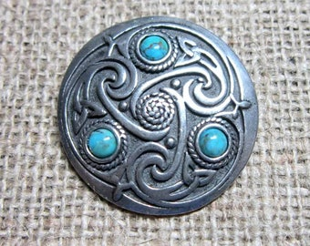 Turquoise  Celtic knotwork shield brooch - chunky pewter with triquetras and blue-green stone