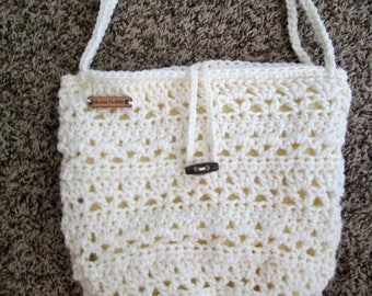Fully lined crochet hobo purse, cream, medium 10 inch x 10 inch