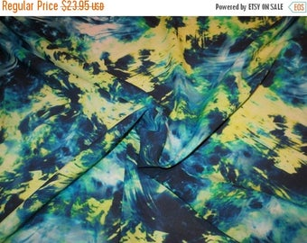 ON SALE Blue Green and Yellow Splatter Paint Print Stretch Silk Georgette Fabric--One Yard