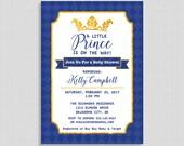 Invitation Petit Prince, bleu roi et or invitation, invitation de douche bébé garçon, Couronne, bricolage imprimable
