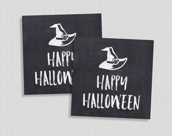 Halloween Party Favor Tags, Happy Halloween Tags, Chalkboard, Witches Hat, DIY Printable, INSTANT DOWNLOAD