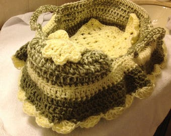 Doll bassinet cradle for American girl sized doll or multiple smaller babies in sage and cream ruffle trim and blanket
