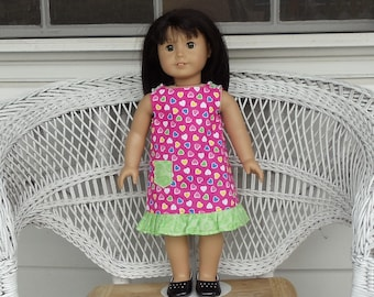 Pretty Hearts Galore Ruffled Dress Handmade To Fit 18 Inch Dolls Like American Girl Doll