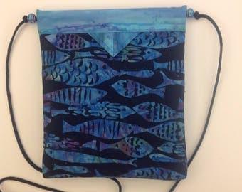 Batik Fish Quilted Fabric Snap Bag Purse Handbag Handmade