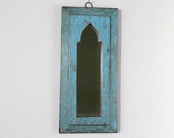 Moroccan Mirror Vintage Wood Frame Wall Art Distressed Jodhpur Blue Wall Mirror Moroccan Decor Turkish