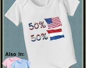 FLASH SALE short sleeve and long sleeve 50 American 50 Dutch Netherlands baby infant USA nationality flag  Bodysuit usa flag