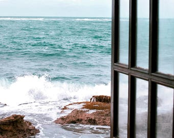Window to the Sea, Fine Art Photography, Coastal Home Decor, Beach Photography, Turquoise, White, Wall Art, Print