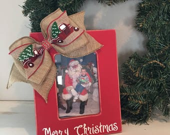 red 5x7 merry christmas frame with vintage truck burlap bow