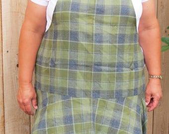 Full Apron with Flirty Skirt: Green and Black Tartan