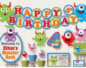 Monster Birthday Party Decorations -Birthday Invitation, Birthday Banner or Baby Shower