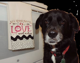 all you need is love and a dog, dog lover towel, pet lover towel, towel with paws, towel with border, dog lover gift, gift from dog