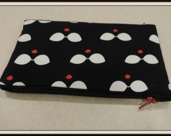 sunglass print organizer bag, red lip pouch, Two pocket purse organizer, two pocket pouch, two pocket cosmetic bag, two pocket coin purse
