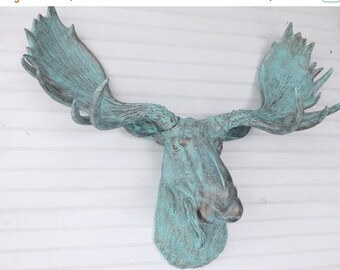 ON SALE Moose Decor /Faux Taxidermy Moose / Patina Wall Hanging / Moose Head