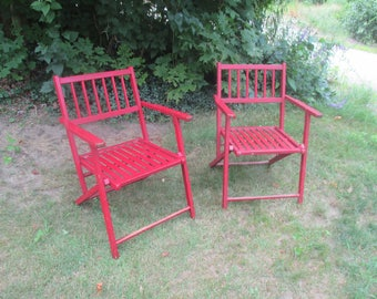 Set of 2 1940's Vintage Wood Slat Painted Folding Chairs Painted Red Shabby Style Perfect Porch Decor