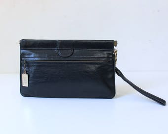 Zenith Handmade Leather Wristlet Clutch Purse // 1980s Vintage Navy Blue Handbag